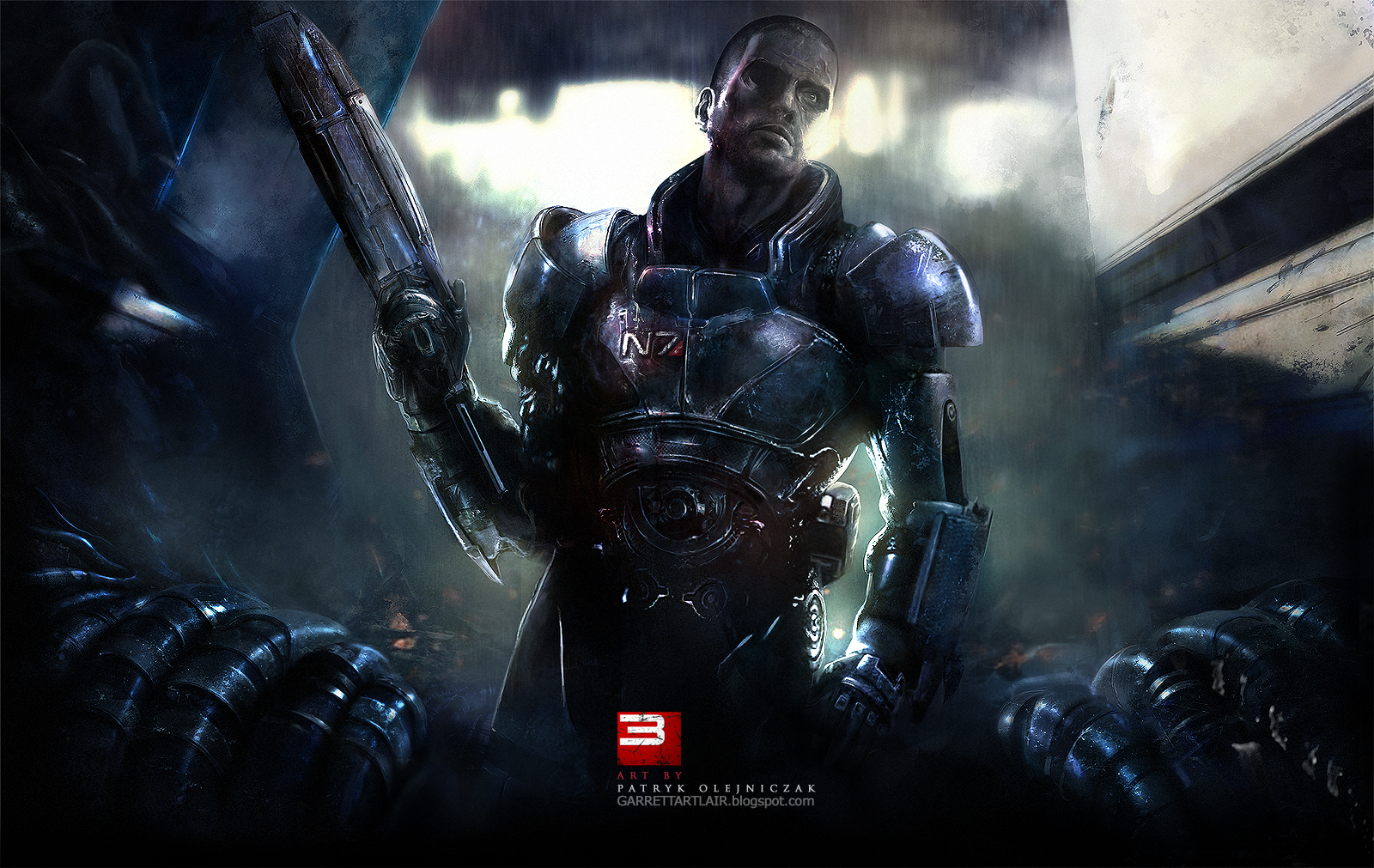 Mass Effect 3 Teaser Wallpaper (Shepard) by Patryk Olejniczak